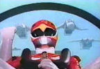 Red Ranger with Flyers above