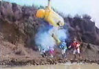 Yellow Ranger falls into a puddle