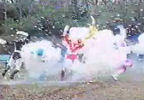 Blue Ranger somersaults