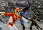 Red Ranger fights Nobodies (red gleams not shown)