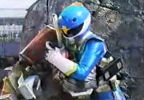 Bobo and Blue Ranger hug