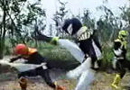 Black Ranger fights Shadow Rangers