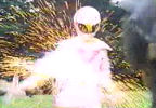 Gog slashes Pink Ranger